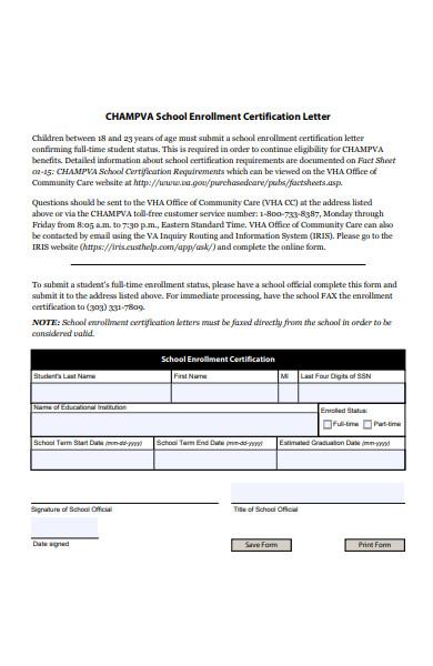 school enrolment certification form