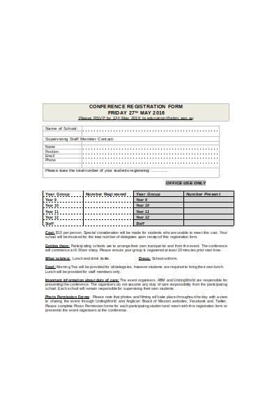 school rsvp registration form
