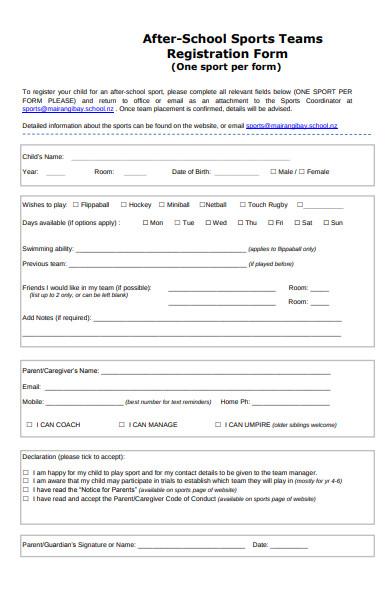 school team sports registration form