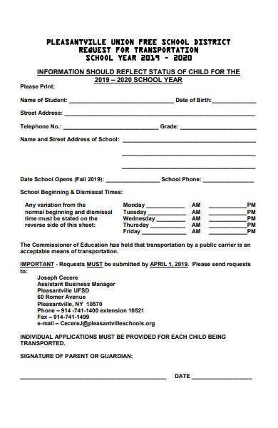 school transportation request form