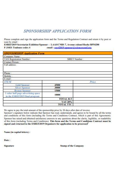 secretariat sponsorship application form