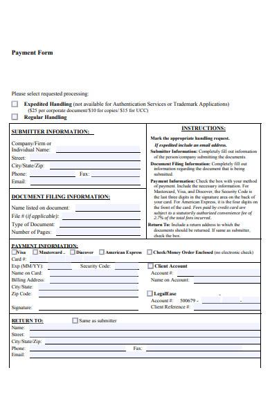 secretary payment form