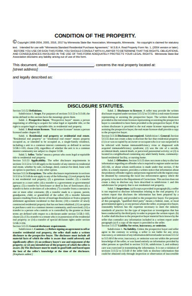 seller disclosure statement form