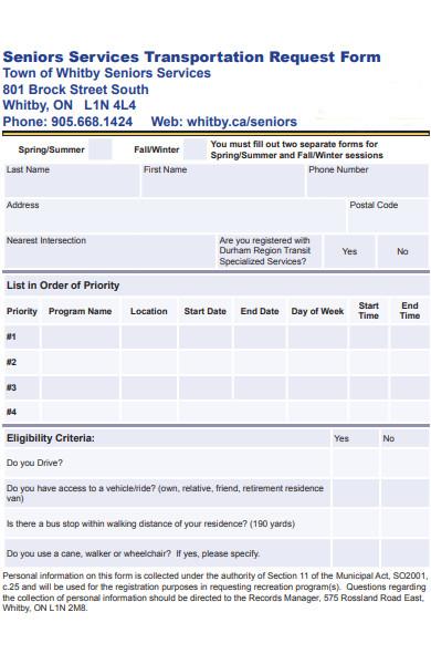 senior services transportation request form