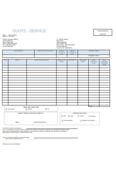 service quote form