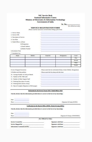service registration form