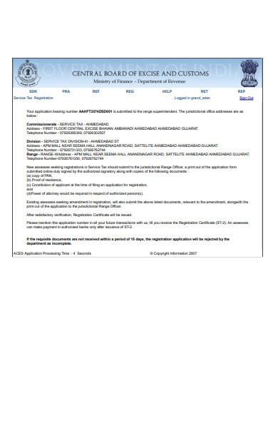 service tax registration form template