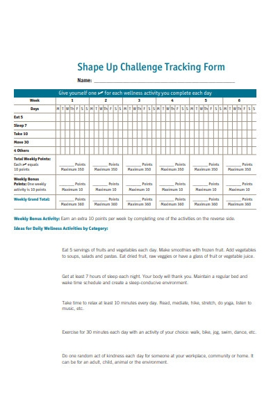 shape up challenge tracking forms