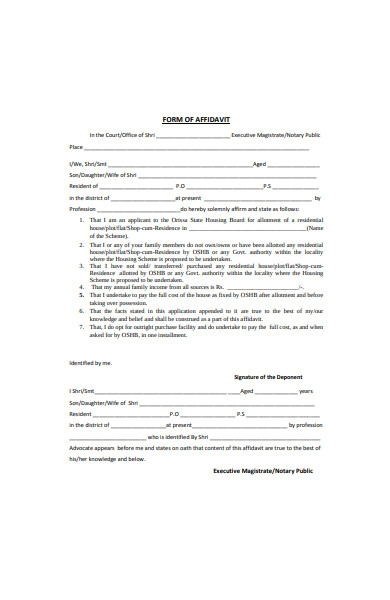 simple affidavit form