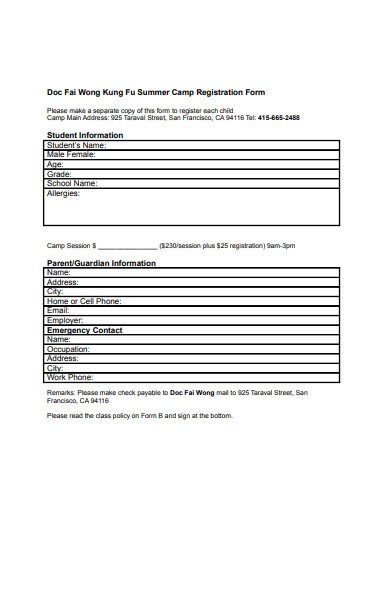 simple camp registration form