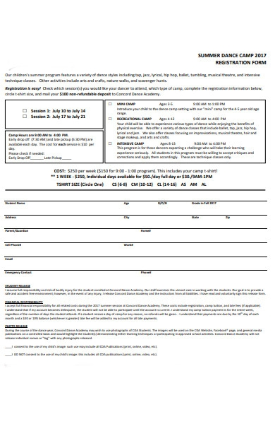 simple dance registration form