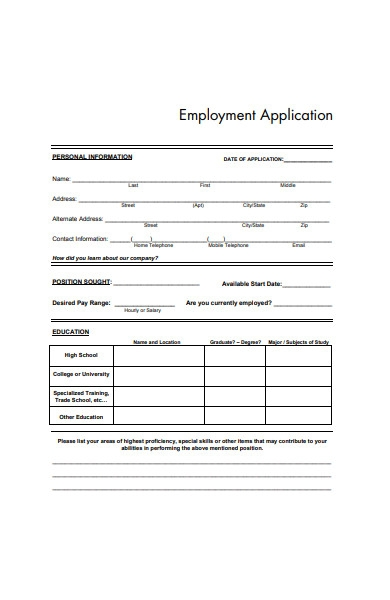 simple employment application form