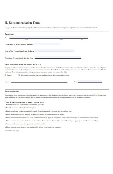 simple recommendation form