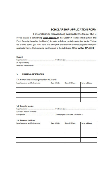 simple scholarship application form in pdf