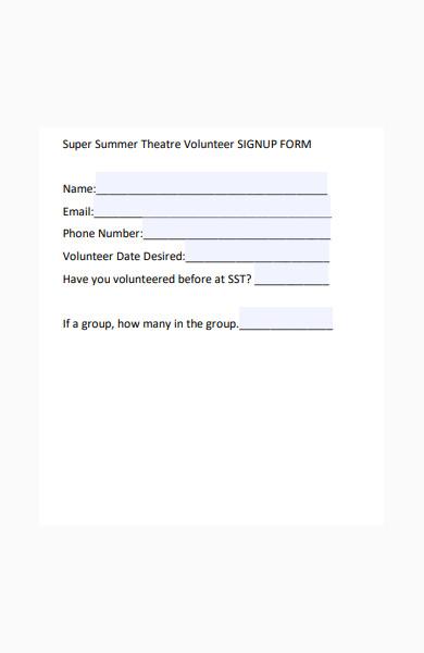 simple volunteer signup form