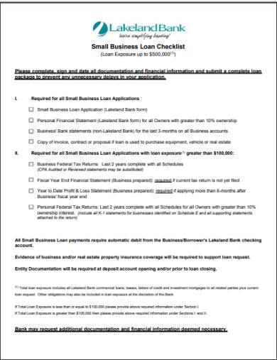 small business loan credit checklist