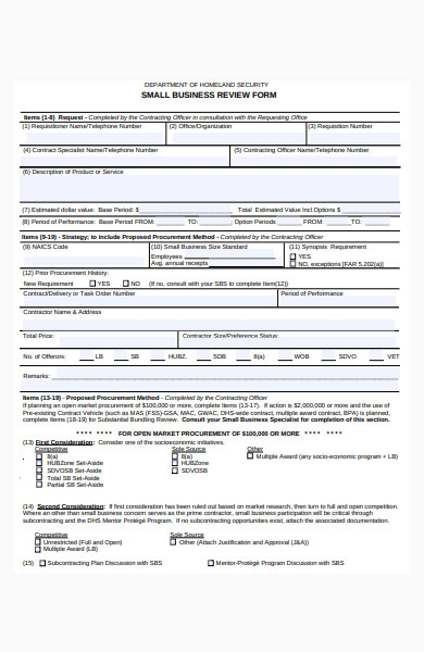 small business review form