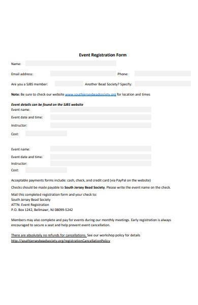 society event registration form