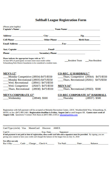 softball league registration form