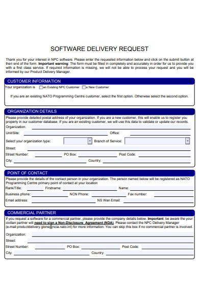software delivery order request form