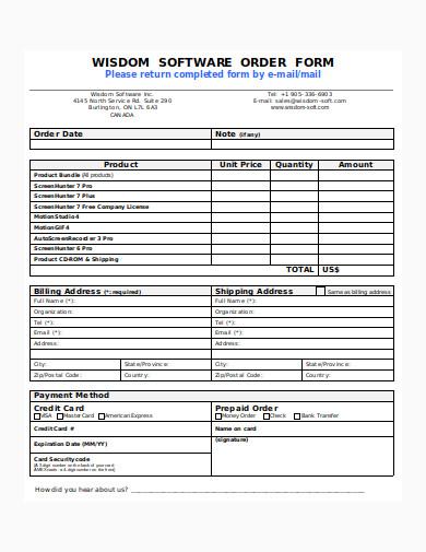 software order form sample