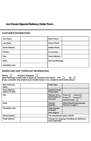 special delivery order form