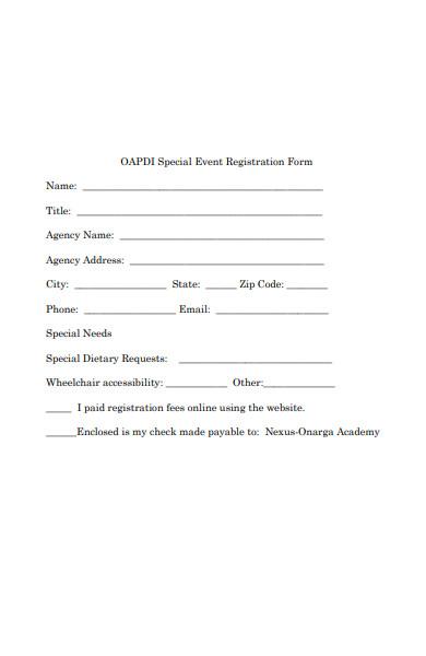 special event registration form
