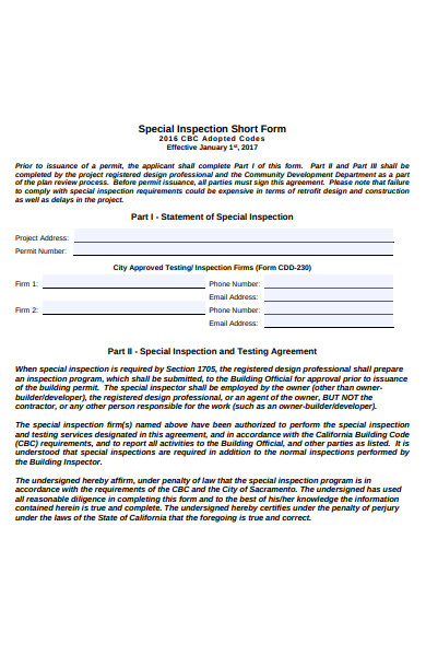 special inspection short form