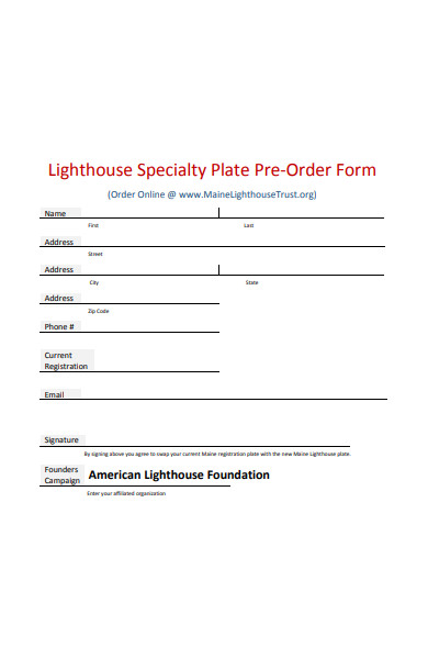 speciality plate preorder form