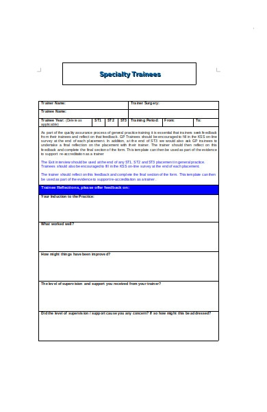 speciality trainees exit interview form