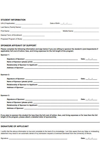 sponsor affidavit application form