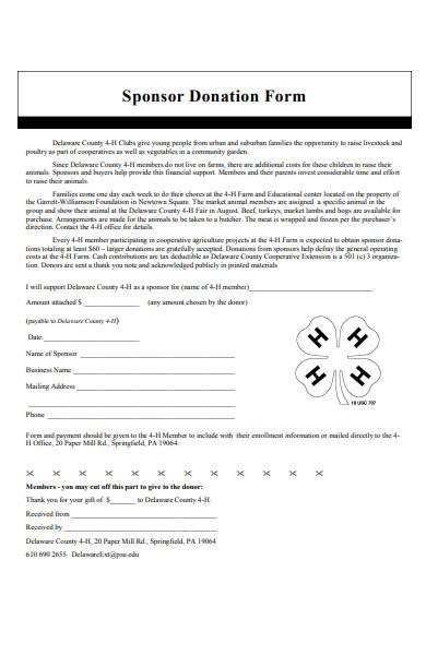 sponsor donation form