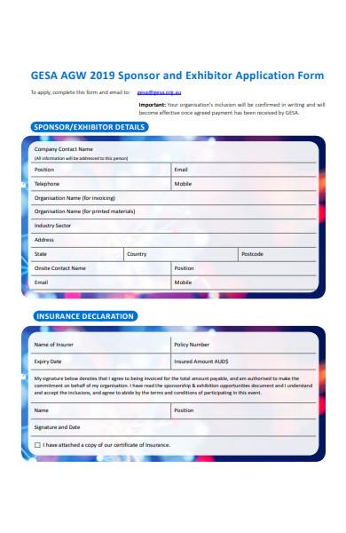 sponsor exhibitor application form