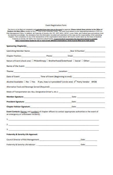 sponsoring event registration form