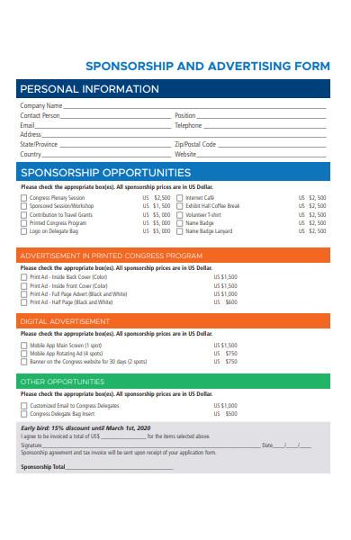 sponsorship advertising application form