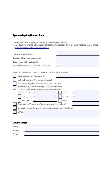 sponsorship alignment application form