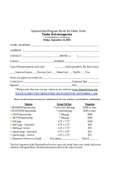 sponsorship book order form