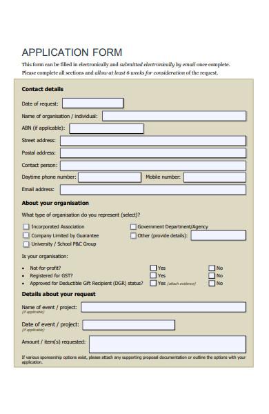 sponsorship donation application form