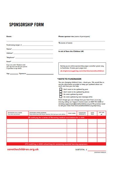 sponsorship event form