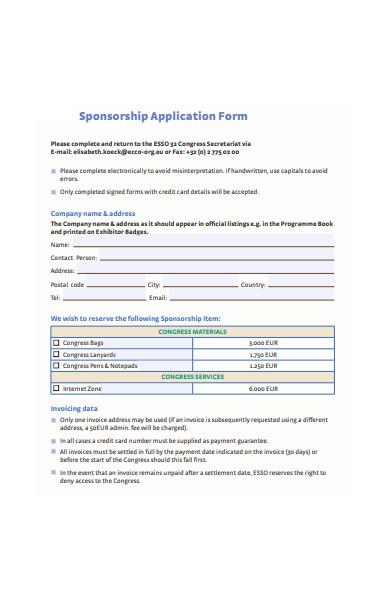sponsorship invoiced application form