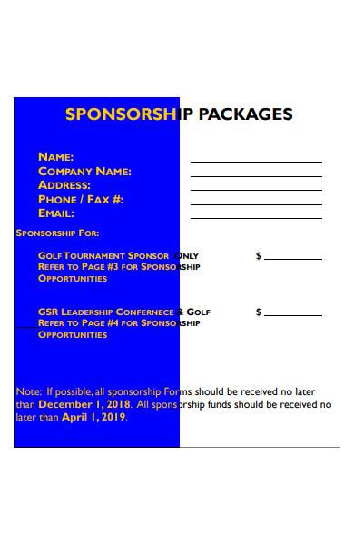 sponsorship packages form