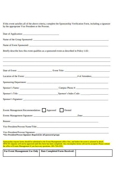 sponsorship verification form