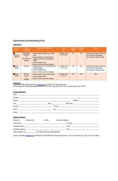 sponsorship and advertising form in pdf