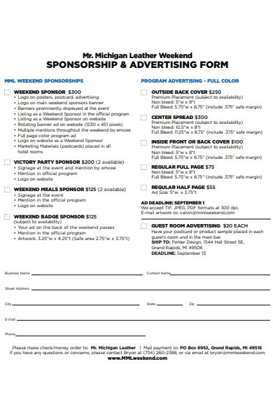 sponsorship and advertising form