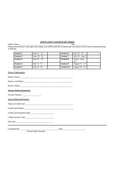 sports application and release form