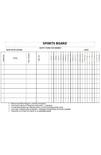 sports board form for women