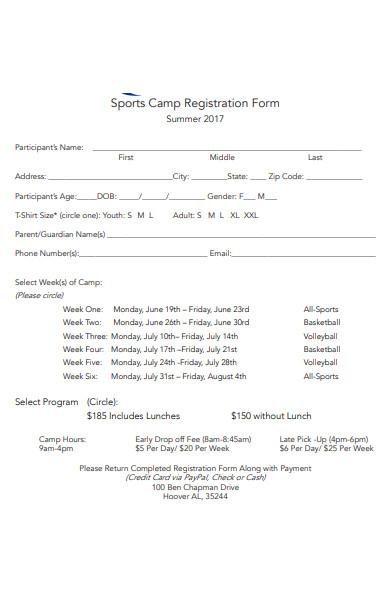 sports camp registration form