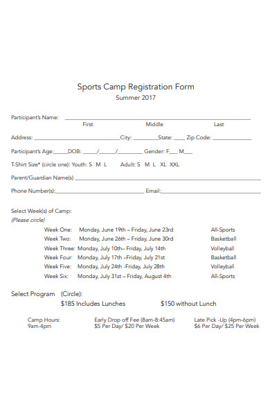 sports camp registration form1