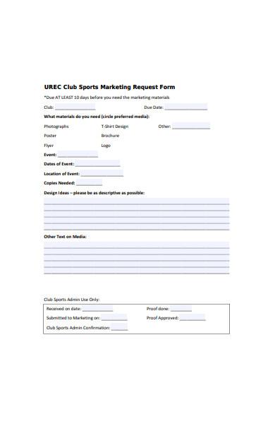 sports club marketing request form