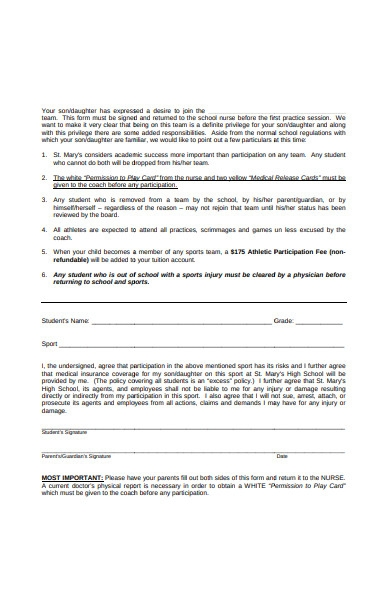 sports department form